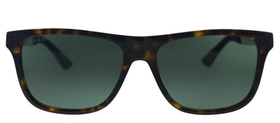 Gucci GG 0687S 003 Rectangle Plastic Havana Sunglasses with Green Lens