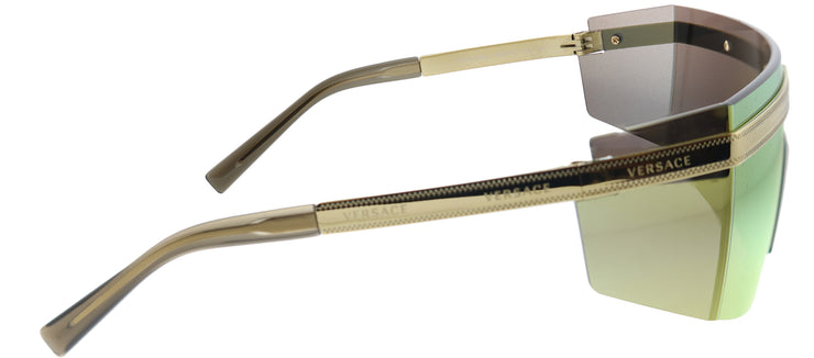 Versace VE 2208 10027P Shield Metal Gold Sunglasses with Gold Mirror Lens