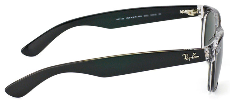 Ray-Ban RB 2132 605258 Wayfarer Plastic Black Sunglasses with Green Polarized Lens
