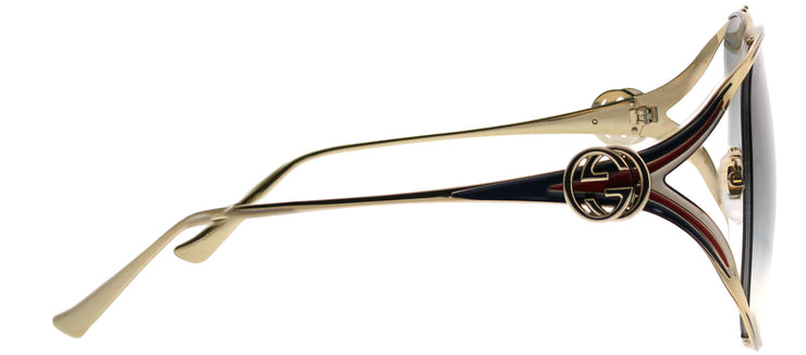 Gucci GG 0225S 004 Round Metal Gold Sunglasses with Grey Gradient Lens