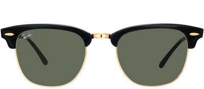 Ray-Ban RB 3016 W0365 Clubmaster Plastic Black Sunglasses with Green Lens