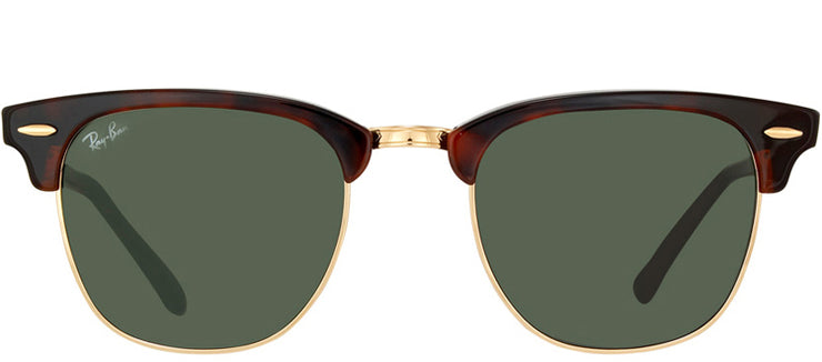 Ray-Ban RB 3016 W0366 Clubmaster Plastic Tortoise/ Havana Sunglasses with Crystal Green Lens