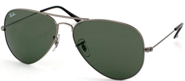 Ray-Ban RB 3025 W0879 Aviator Metal Ruthenium/ Gunmetal Sunglasses with Crystal Green Lens