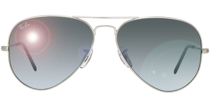 Ray-Ban RB 3025 W3277 Aviator Metal Silver Sunglasses with Crystal Grey Mirror Lens