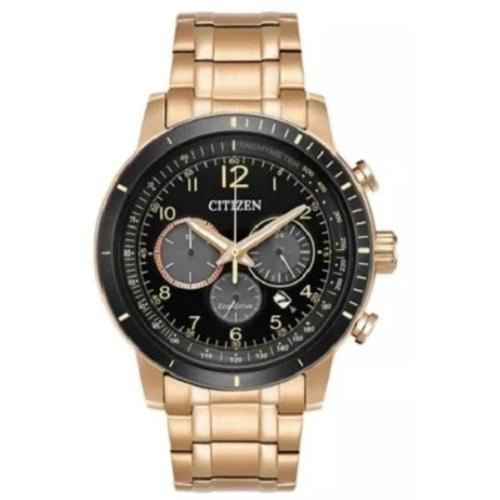 With a Rose gold case this 44mm wristwatch features Eco-Drive® technology, powered by any light source with no batteries needed. Sporting a Chronograph, Tachymeter, and date window it's as accurate sit is lasting. Perfect for any man, function and fashion come standard along with the Citizen manufacturer's 5 year warranty. Get yours today at TherezinaGifts.com