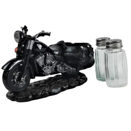 motorcycle, salt and pepper, shaker set, Harley, black, biker, American, unique, gifts, therezinha