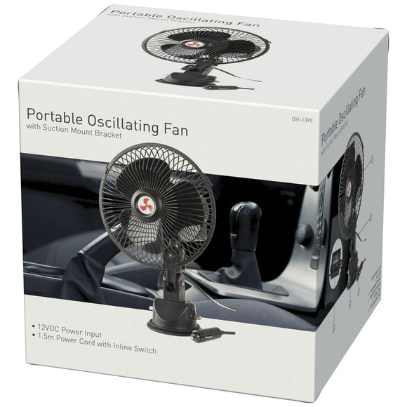 12VDC Oscillating Fan with Suction Mount Bracket