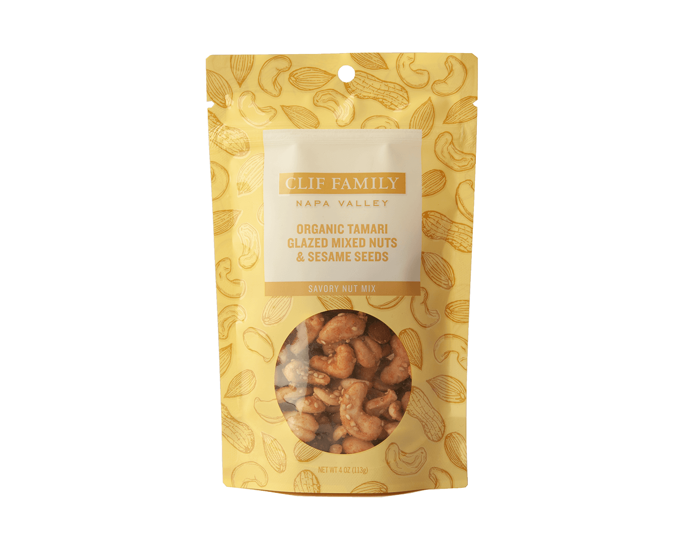 Organic Tamari Glazed Mixed Nuts & Sesame Seeds packaging