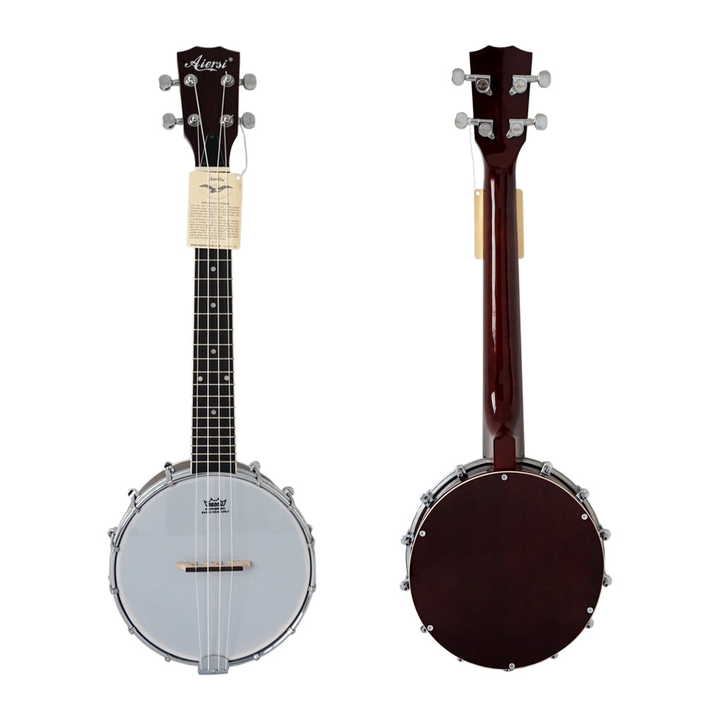 China Aiersi Brand Hot Sale Concert Tenor Banjo Musical Instrument Ukulele With Mahogany Resonator Cover