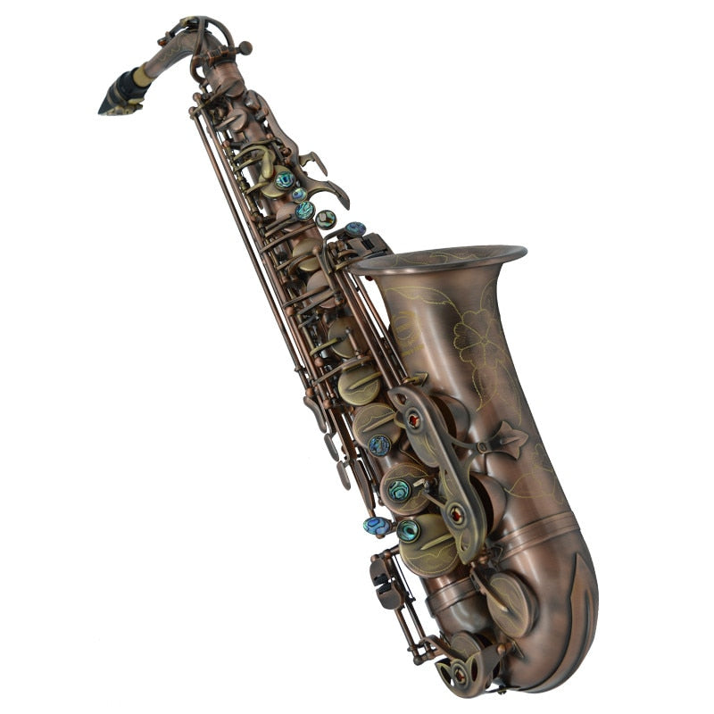 Professional Brand Instruments China WES-2018 Alto Saxophone E Flat Unique Antique Copper Brass Sax Eb Tune Saxofone