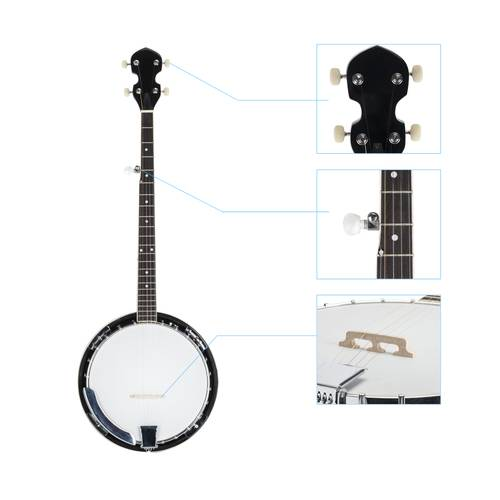 Top Grade Exquisite Professional Wood Metal 5-string Banjo White  Wood Color solid metal wood beginners Musical instrument