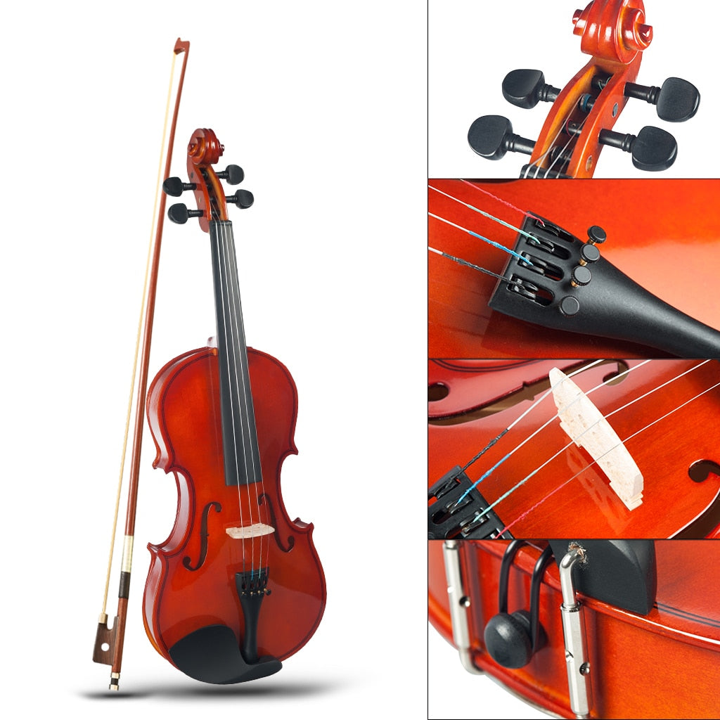 Polished Solidwood Acoustic Violin Fiddle Size 4/4 for Beginners