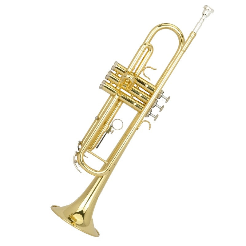 Bb golden trumpet brass outer covering trumpet musical instrument primary employ performance trumpet yellow brass wind music