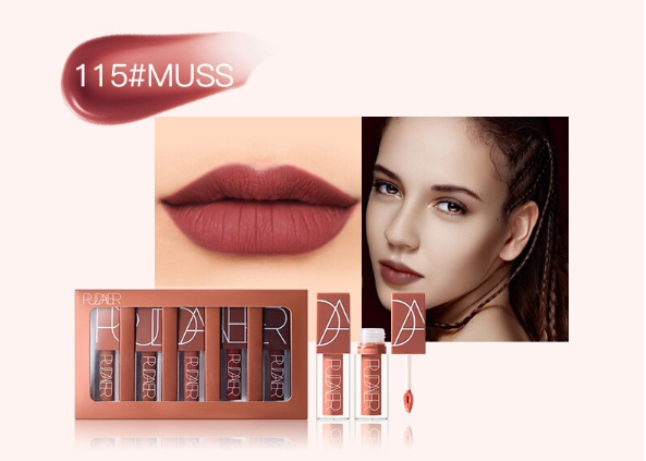 5 Pcs Pudaier Popular Color Matte Lip Gloss Set