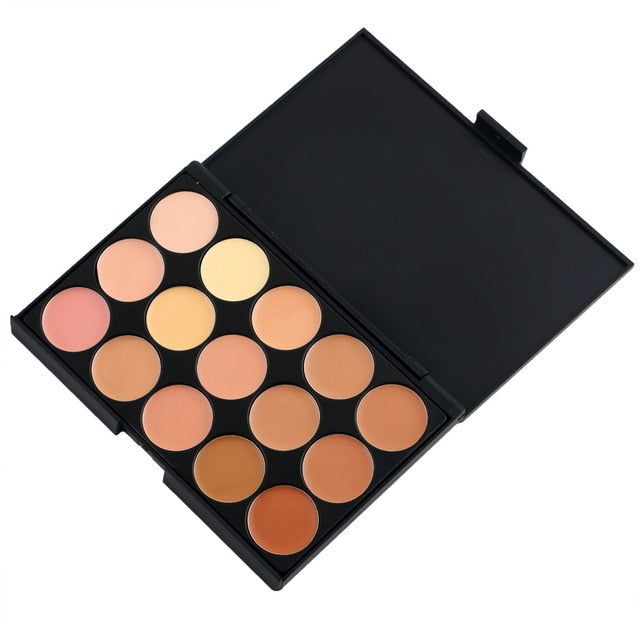 15 Colors Concealer Makeup Palette +Brushes Face Base Foundation Bronzer Concealer Contour Pallete Make Up Cosmetics Set