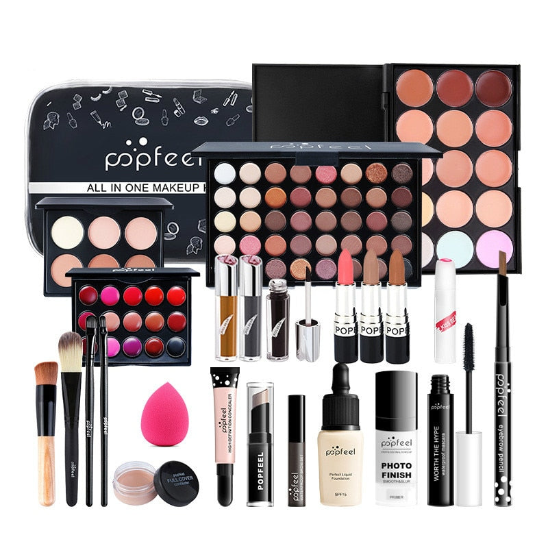 24PCS/Set Make Up Sets Cosmetics Kit Eyeshadow Lipstick Eyebrow Pencil Lip Gloss Makeup Brush Powder Puff with Makeup Bag Kit