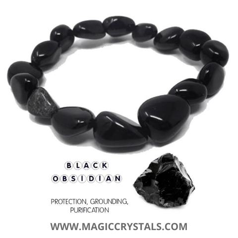 Black Obsidian Bracelet - Magic Crystals - Black Obsidian Jewelry