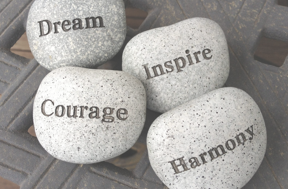 Balance Stones, Courage, Harmony, Dream, Inspire. Stones with wording.