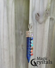 Load and play video in Gallery viewer, CHARGED 7 Chakra Lapis Lazuli Crystal Perfect Pendant and necklace