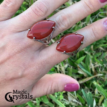 Load and play video in Gallery viewer, Looking for a Red Jasper Stone Ring and Natural Red Jasper Jewelry? Find a authentic Red Jasper ring when you shop at Magic Crystals. Natural Red Jasper Crystal Healing ring. Red jasper properties meaning regarded as a gemstone that gives a sense of well-being, intensifying that feeling. Shop at www.magiccrystals.com