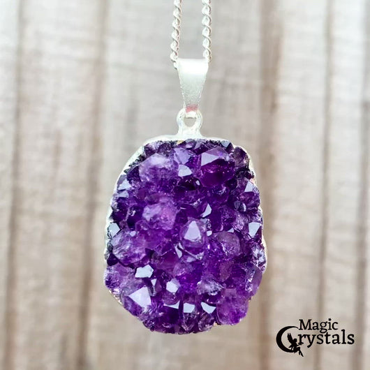 Amethyst Necklace. Shop for Raw Amethyst Pendant Necklace - Amethyst Jewelry at Magic Crystals. FREE SHIPPING available. Grade A, genuine amethyst, giving it an elegant look perfect for anniversary gift, Christmas. Gift for spiritual people. Raw Crystal Necklace, Raw Stone Amethyst Druzy Pendant.