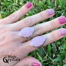 "Load and play video in Gallery viewer, Pink Stone ring. Pink Jewelry. Rose Quartz Stone Ring and Natural Rose Quartz Jewelry at Magiccrystals.com . Rose Quartz rings help to encourage healing. Rose Quartz rings. Rose quartz is often called the ""Love Stone."" It's energetic hallmark is that of unconditional love that opens the heart chakra."
