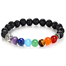 Load image into Gallery viewer, Black Lava Stone and 7 Chakra Elastic Buddha Bracelet-Bracelets-Magic Crystals
