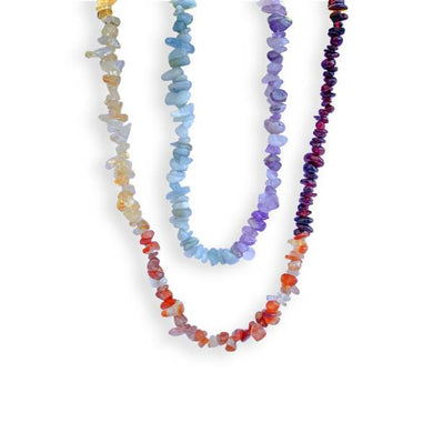 7 Chakra Genuine Raw Gemstone Chip Necklace-NECKLACES-Magic Crystals