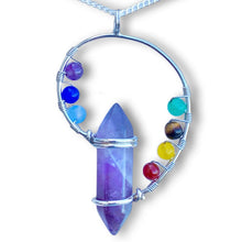 Load image into Gallery viewer, 7 Chakra Stone Handmade Amethyst Quartz Pendant Necklace - Magic Crystals
