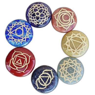 7 Chakra Gemstone Engrave Stone Disc Set-CHAKRA SETS-Magic Crystals