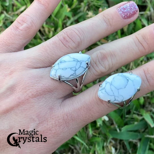 Looking for clear quartz jewelry? Well look no further! Shop at Magic Crystals for the best Howlite Natural Stone Ring - Howlite Jewelry. White Stone ring. Natural Howlite stone ring, dangle ring. Howlite rings help to encourage healing. Howlite rings. Howlite is a purification stone.