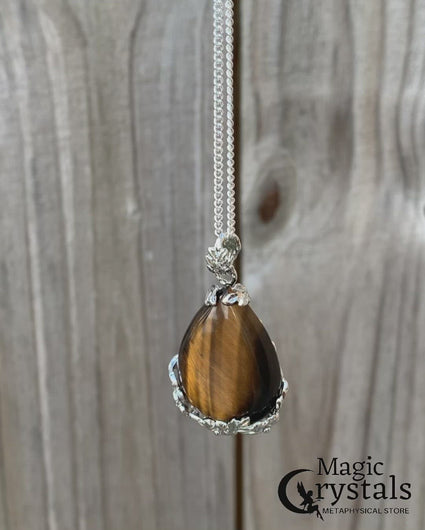Yellow Tiger Eye Stone Handmade Tear Drop Flower Necklace magi crystals miami homestead