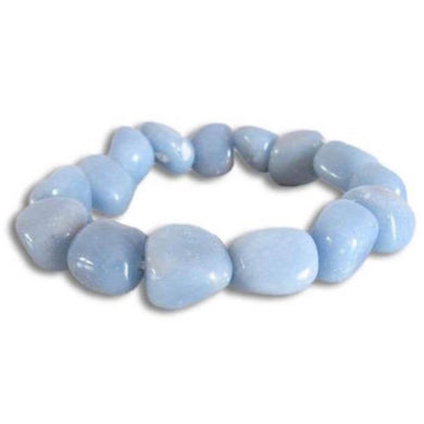 Blue Angelite Tumbled Stone Bracelet,Angelite Jewelry - Magic Crystals