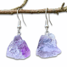 Load image into Gallery viewer, Shop for beautiful Natural Raw Amethyst Dangling Earrings - Raw Amethyst crystal Jewelry at Magiccrystals.com . Magic Crystals have an excellent choice for women. available with FREE SHIPPING and in gold. Find an Amethyst Earring or Genuine Amethyst Earring when you shop at Magic Crystals. February birthstone.
