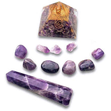 Load image into Gallery viewer, Shop for the Best orgone pyramid Collection in Magic Crystals. Amethyst Amethyst Orgone Pyramid kit - Tranquility Gemstone Kit, Energy Generator Orgone Pyramid for Emf protection. Our Amethyst Orgonite pyramids made of a mix of organic - resin. Find Orgone accumulator, orgone generator and Orgonite Amethyst Crystals