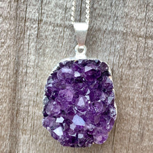 Load image into Gallery viewer, Raw Amethyst Necklace - Amethyst Stone Pendant - Raw Crystal Necklace - Raw Stone Amethyst Druzy Pendant - Stocking Stuffer Gift for Her - Magic Crystals - Stone Necklace