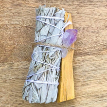 Load image into Gallery viewer, Looking for, where can I buy White Sage, Palo Santo sticks, and amethyst? Shop at Magic Crystals for Amethyst Smudge Bundle - Palo Santo - White Sage - Amethyst - Space Clearing - Home Cleansing Kit - Calming Smudge Bundle - Meditation. Smudging for Cleansing and Clearing Your Home, Clearing Negative Energy.