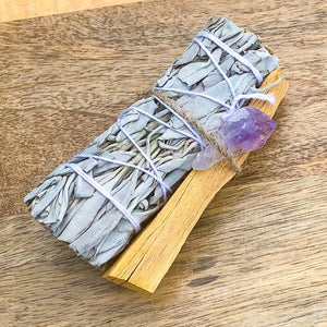 Looking for, where can I buy White Sage, Palo Santo sticks, and amethyst? Shop at Magic Crystals for Amethyst Smudge Bundle - Palo Santo - White Sage - Amethyst - Space Clearing - Home Cleansing Kit - Calming Smudge Bundle - Meditation. Smudging for Cleansing and Clearing Your Home, Clearing Negative Energy.