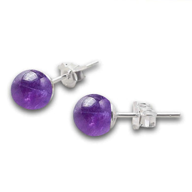 Amethyst-Stud-Beaded-Earrings-Magic-Crystals-Stud-Earrings-8mm Brazilian Purple Amethyst Ball Stud Post Earrings, Solid, Purple Color, February Birthstone, Purple Earrings, Minimalist