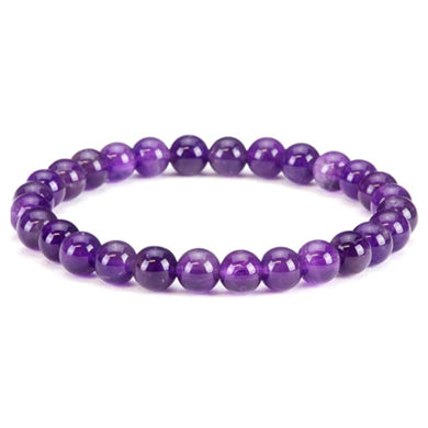Amethyst Stone Quartz Elastic Beaded Bracelet-Bracelets-Magic Crystals