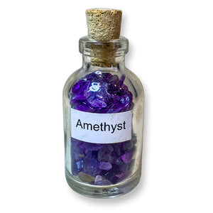 Amethyst pieces in bottles, amethyst small glass bottle. Gemstone Crystal Bottle - Stone Bottle Set - Gemstone Chips - Tarot Gemstone Bottle, Crystal Gemstone Bottle - gemstone crystal chips. The listing is for one Crystal Bottle. Crystals included Peridot, Blue Topaz, Carnelian, Turquoise, Moonstone, Rose Quartz, Tigers Eye, Quartz, Amethyst, Aventurine, Garnet, Citrine.