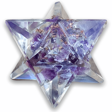 Amethyst Orgone Merkaba, Sacred Geometry Orgone Stars Crystal Merkaba for Reiki Healing and Crystal Healing Stones. Amethyst Orgone Merkaba helps against EMF and haarp radiations in our environment. Sacred light within this Orgonite Resin Merkaba Star.  Magic Crystals carries Merkaba filled with healing crystals.