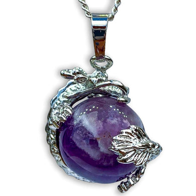 Amethyst Sphere Dragon Pendant Necklace - Dragon Necklace - Magic crystals