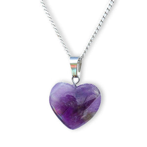 Amethyst Stone Heart Necklace and Pendant Amatista - Magic Crystals  - Heart Necklace