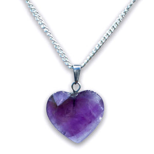 Amethyst Stone Heart Pendant Necklace