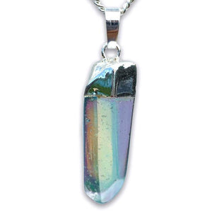 Raw Aura Quartz Pendant handmade necklace Healing - Magic Crystals - Stone Necklace