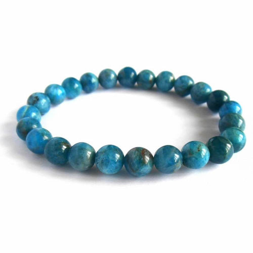 Apatite stone bracelet in white background. Magic crystals store