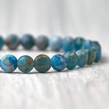 Load image into Gallery viewer, Check out Magic Crystals for the very best in unique, handmade Blue Apatite Bracelet Healing Stone elastic bracelet. Buy genuine apatite gemstone bracelet with FREE SHIPPING available. Apatite meaning: MOTIVATION • MANIFESTATION • COMMUNICATION. Healing Crystal apatite Jewelry,Natural stones bracelets. Gemini stone