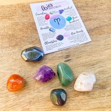 Load image into Gallery viewer, Shop for ARIES Crystals Set, Crystals and Stones for Aries, Zodiac Stones Pouch, Star Sign tumbled stones, Zodiac Crystal Gift, Constellation Gift, Gift for friends, Gift for sister, Gift for Crystals Lovers at Magic Crystals. Magiccrystals.com made up of several uniquely paired gemstones for Aries.