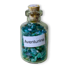 Load image into Gallery viewer, aventurine pieces in bottles, green aventurine small glass bottle. Gemstone Crystal Bottle - Stone Bottle Set - Gemstone Chips - Tarot Gemstone Bottle, Crystal Gemstone Bottle - gemstone crystal chips. The listing is for one Crystal Bottle. Crystals included Peridot, Blue Topaz, Carnelian, Turquoise, Moonstone, Rose Quartz, Tigers Eye, Quartz, Amethyst, Aventurine, Garnet, Citrine.